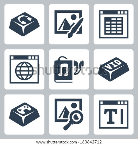 Vector isolated applications icons set: audio player, image editor, spreadsheet application, internet browser, audiobook, video player, games, image browser, text editor - stock vector