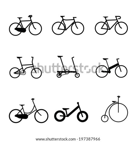 Vector isolated bicycles icons set - stock vector