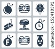 Vector isolated bombs icons set - stock photo