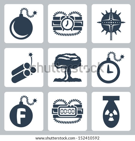 Vector isolated bombs icons set - stock vector