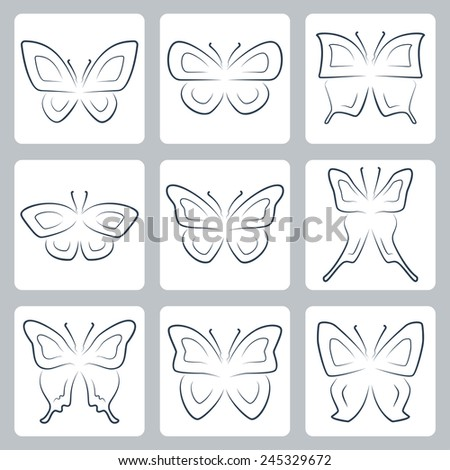 Vector isolated butterflies icons set, thin line or outline style - stock vector