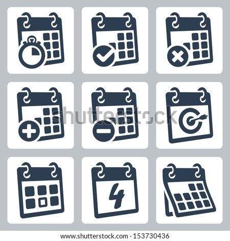 Vector isolated calendar icons set - stock vector