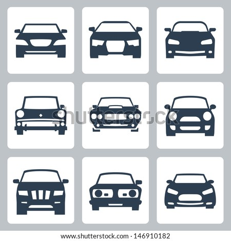 Vector isolated cars icons set - stock vector