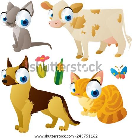 vector isolated cartoon cute animals set:farm: cat, dog, cow, kitten - stock vector
