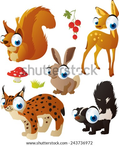 vector isolated cartoon cute animals set: forest: deer, squirrel, lynx, skunk, hare - stock vector