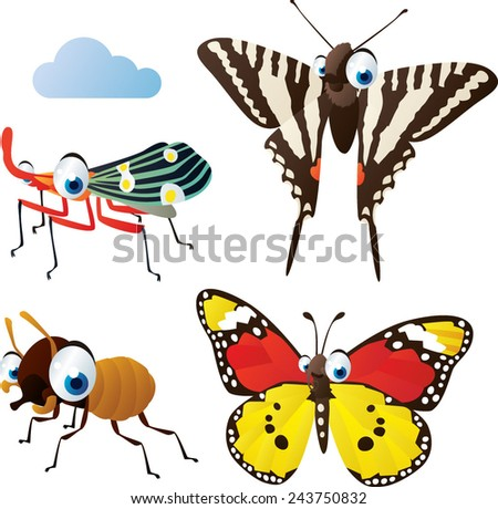 vector isolated cartoon cute animals set: termite, zebra butterfly, monarch butterfly, planthopper - stock vector