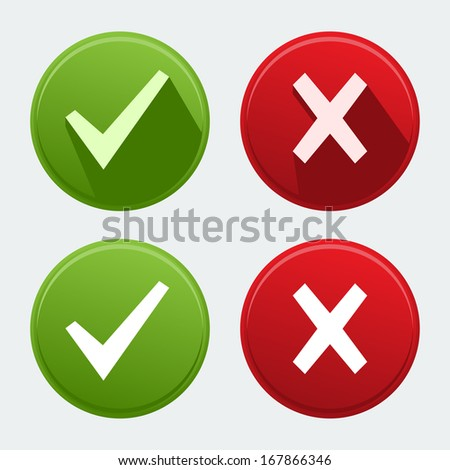Vector isolated check mark icons - stock vector