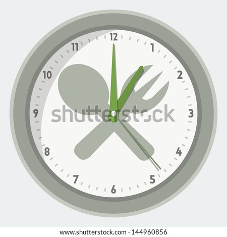 Vector isolated clock - lunch time concept - stock vector