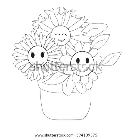 Vector Isolated Coloring Book Flowers In A Pot