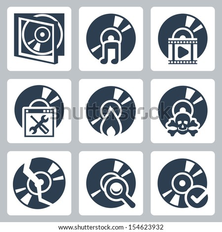 Vector isolated compact disk icons set: case, music, video, soft, search, burning, piracy - stock vector
