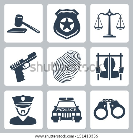 Vector isolated criminal/police icons set - stock vector