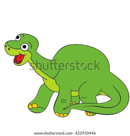 vector, isolated cute dinosaur Brontosaurus, cartoon  character - stock vector