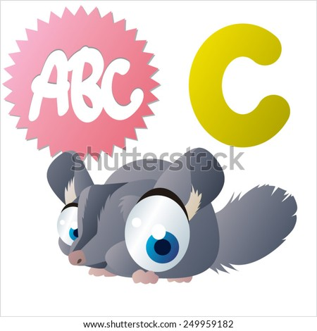 vector isolated cute happy big eyes abc animals: C is for Chinchilla - stock vector