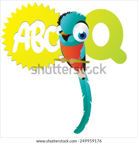 vector isolated cute happy big eyes abc animals: Q is for Quetzal - stock vector