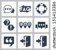 Vector isolated faq/info icons set - stock vector