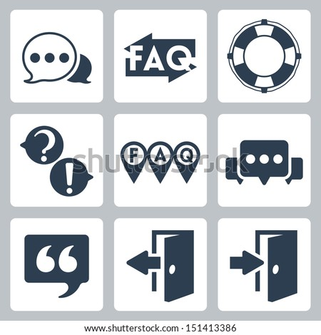 Vector isolated faq/info icons set - stock vector