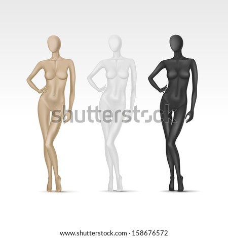 Vector Isolated Female Mannequin - stock vector