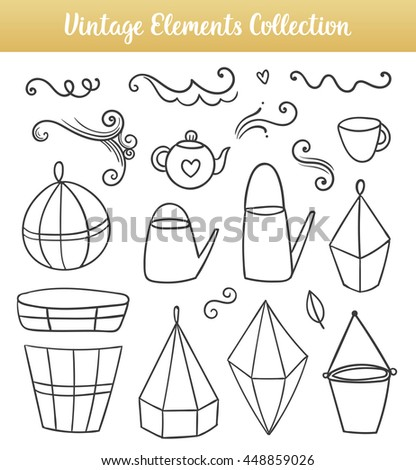 Vector isolated flower pots, watering cans, mug and page decorations in sketch style. Black isolated elements. - stock vector