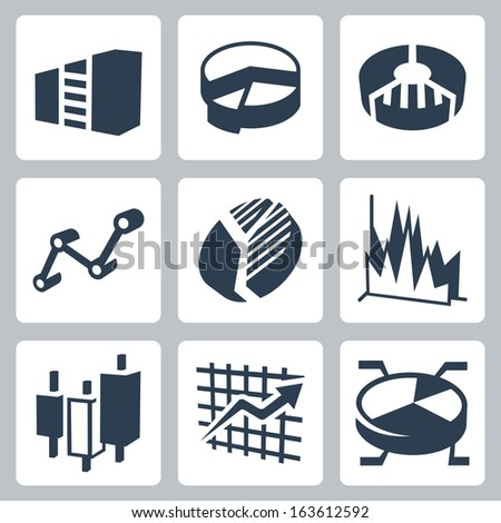 Vector isolated graphs and charts icons set - stock vector