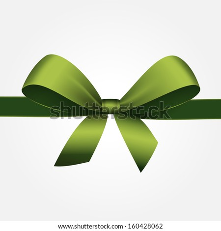 Vector Isolated Green Gift Bow with Ribbon - stock vector