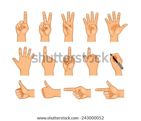 Vector isolated hands collection on white background - stock vector