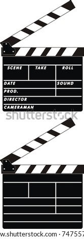 Vector isolated illustration of cinema clapboards on white background