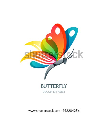 Vector isolated illustration of colorful abstract butterfly. Creative logo design element. Butterfly symbol. Concept for beauty salon, fashion, spa, natural organic cosmetics or makeup. - stock vector