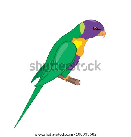 Vector isolated illustration of parrot on a perch - stock vector