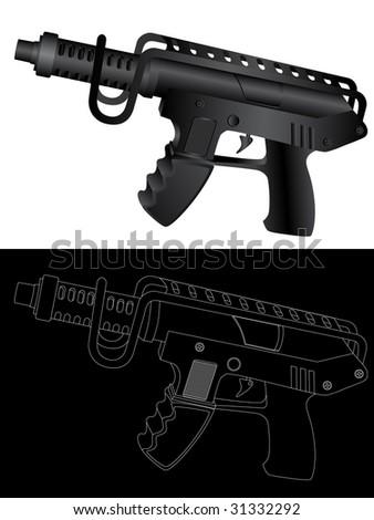 Vector isolated image of guns. - stock vector