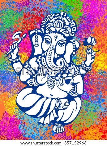 vector isolated image of Hindu lord Ganesh. Ganesh Puja. Ganesh Chaturthi. It is used for postcards, prints, textiles, tattoo. - stock vector