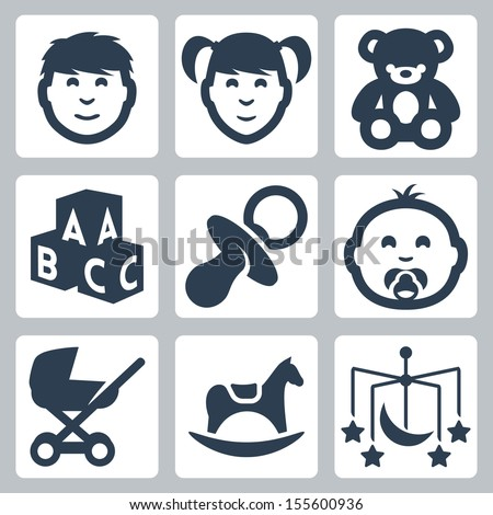 Vector isolated 'kids' icons set: boy, girl, teddy bear, bricks, baby's dummy, baby, baby carriage, rocking horse, crib mobile - stock vector