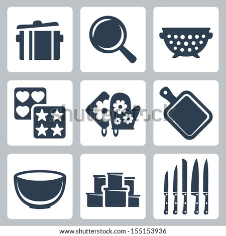 Vector isolated kitchenware icons set: pot, frying pan, colander, baking mould, potholder, cutting board, bowl, containers, knives - stock vector