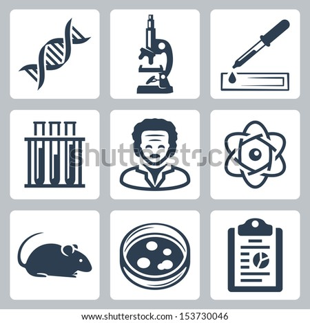 Vector isolated laboratory icons set - stock vector