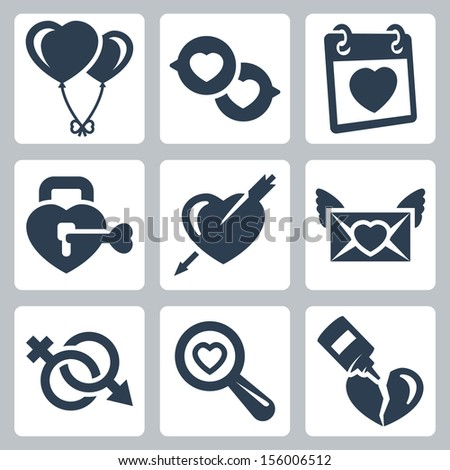 Vector isolated love icons set: balloons, speech bubbles, Valentine's Day, lock, heart and arrow, love letter, gender symbol, search, broken heart - stock vector