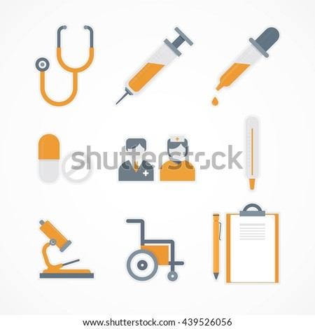 Vector isolated medical icons set - stock vector