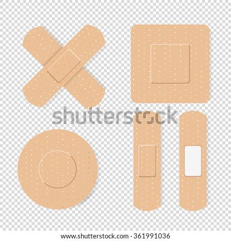 Vector isolated  medical plaster set - stock vector