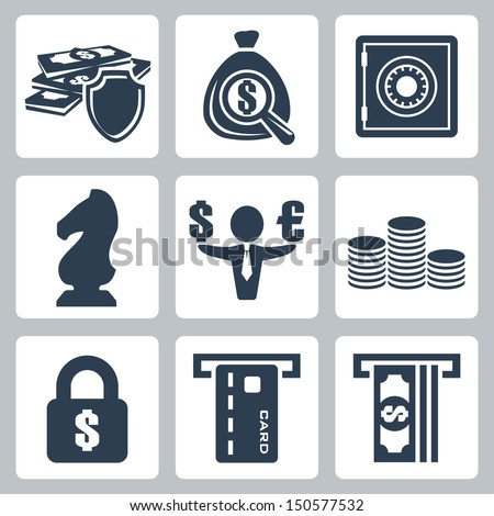Vector isolated money icons set - stock vector