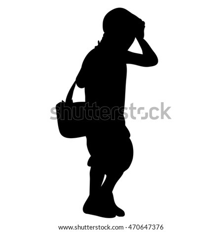 vector,isolated on a white background,the silhouette of the child walking and holding his hand over his head