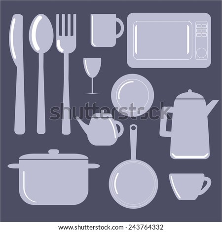color kitchen utensils set cartoon tableware pot pan plate stock vector 586569764