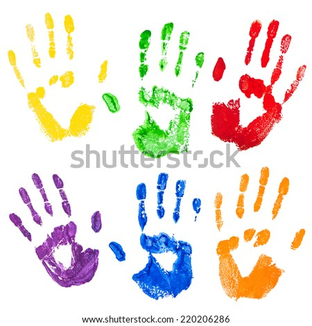 Vector isolated on the white background yellow,green,red,violet,blue,orange paint hand prints