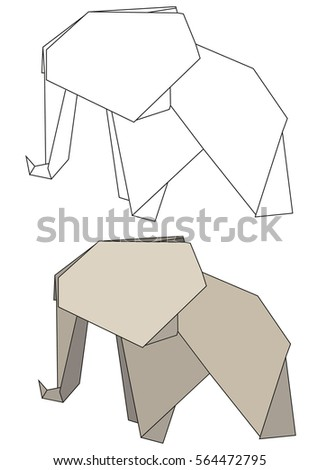 Vector Isolated Outline Of An Elephant And The Origami
