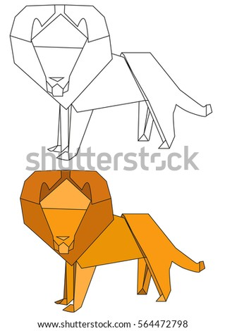 Vector Isolated Outlines Of A Lion And The Origami