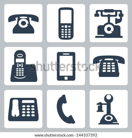 Vector isolated phones icons set - stock vector