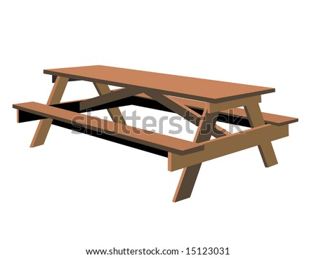 Vector Isolated Picnic Table is hand drawn original artwork.