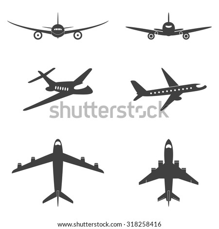 Vector isolated plane icons set. Vector EPS8 illustration.  - stock vector