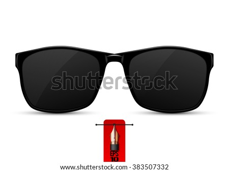 Vector isolated real black protective sunglasses. - stock vector