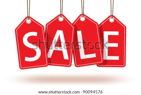 Vector isolated red hanging sales tags with optional transparent ground shadow - stock vector