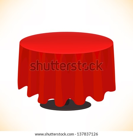 Vector isolated red table on white background. Table cloth - stock vector