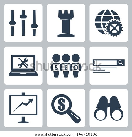Vector isolated seo icons set #3 - stock vector