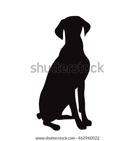 vector isolated silhouette of a dog sitting